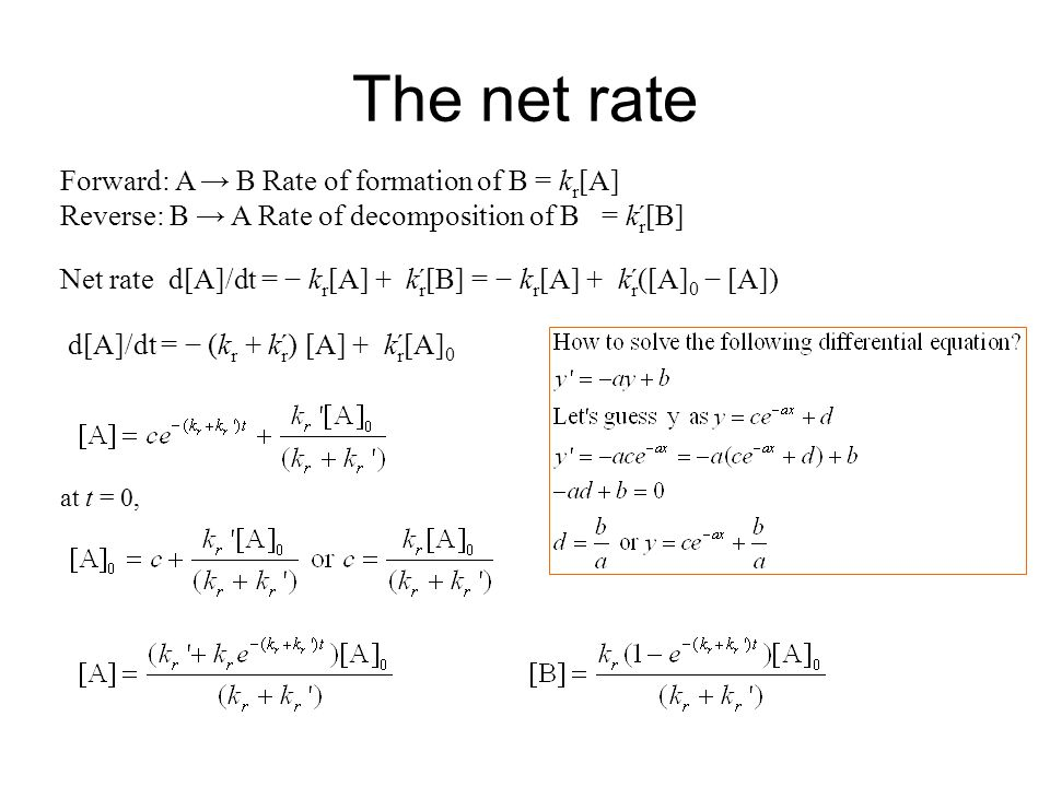 The net rate Forward: A → B Rate of formation of B = kr[A]